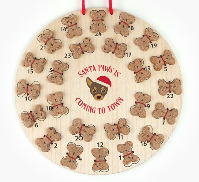 Personalised Dog Biscuit 'Santa Paws' Advent Calendar with Chihuahua Icon