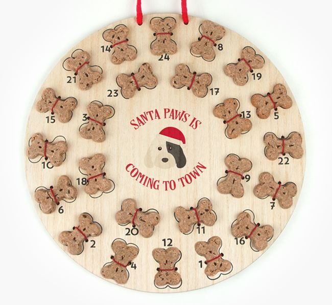 Personalised Dog Biscuit 'Santa Paws' Advent Calendar with Cockapoo Icon