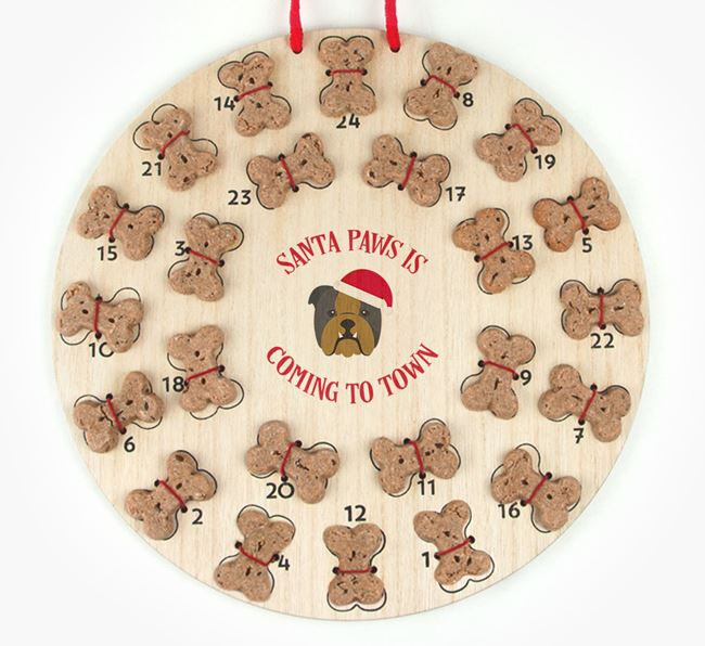 Personalised Dog Biscuit 'Santa Paws' Advent Calendar with English Bulldog Icon