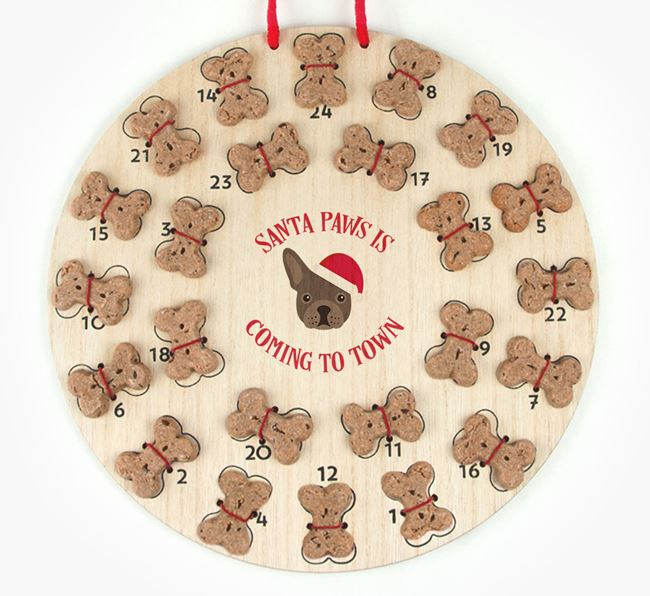 Personalised Dog Biscuit 'Santa Paws' Advent Calendar with French Bulldog Icon