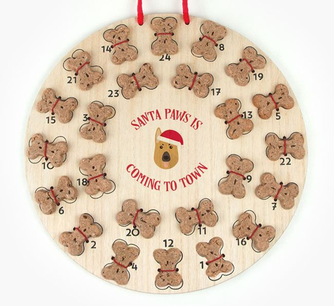 Personalised Dog Biscuit 'Santa Paws' Advent Calendar with German Shepherd Icon