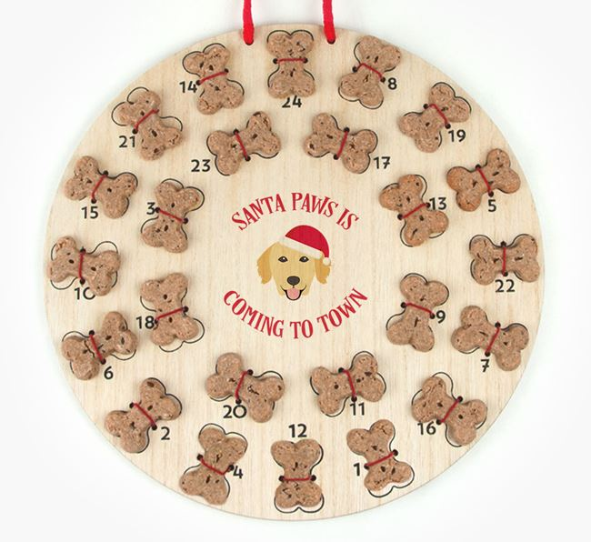 Personalised Dog Biscuit 'Santa Paws' Advent Calendar with Golden Retriever Icon