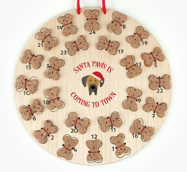 Personalised Dog Biscuit 'Santa Paws' Advent Calendar with Great Dane Icon
