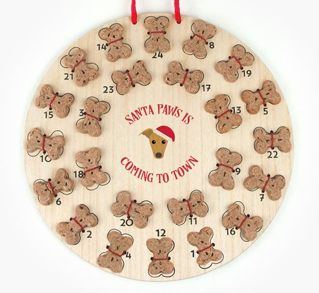 Personalised Dog Biscuit 'Santa Paws' Advent Calendar with Greyhound Icon