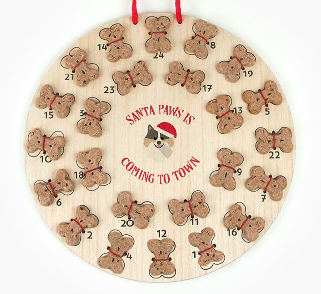 Personalised Dog Biscuit 'Santa Paws' Advent Calendar with Pomeranian Icon