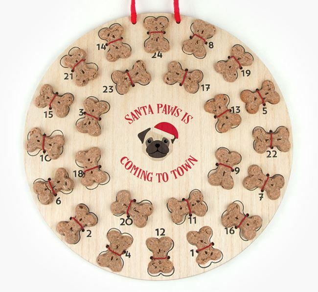 Personalised Dog Biscuit 'Santa Paws' Advent Calendar with Pug Icon