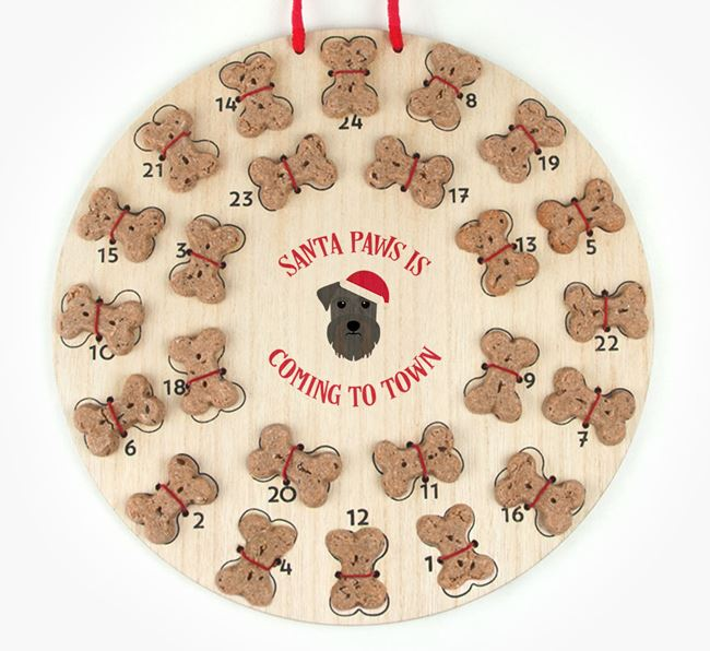 Personalised Dog Biscuit 'Santa Paws' Advent Calendar with Schnauzer Icon