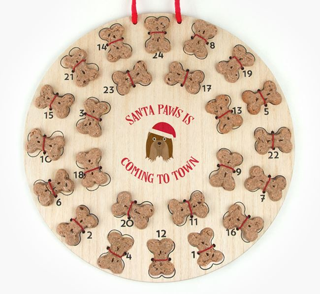 Personalised Dog Biscuit 'Santa Paws' Advent Calendar with Shih Tzu Icon