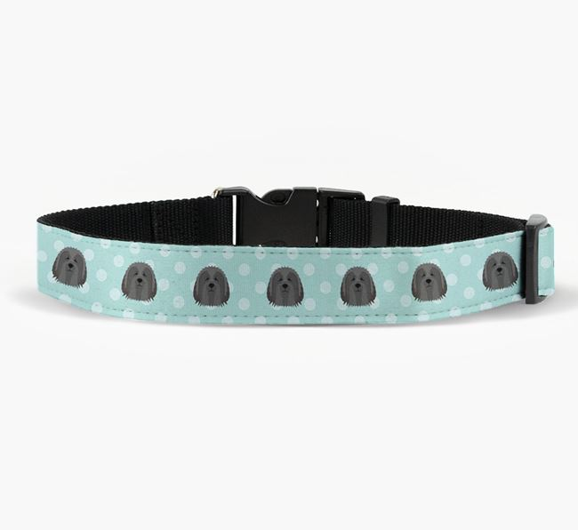 Fabric Collar with Spots and Bearded Collie Icon