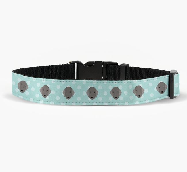Fabric Collar with Spots and Bedlington Terrier Icon
