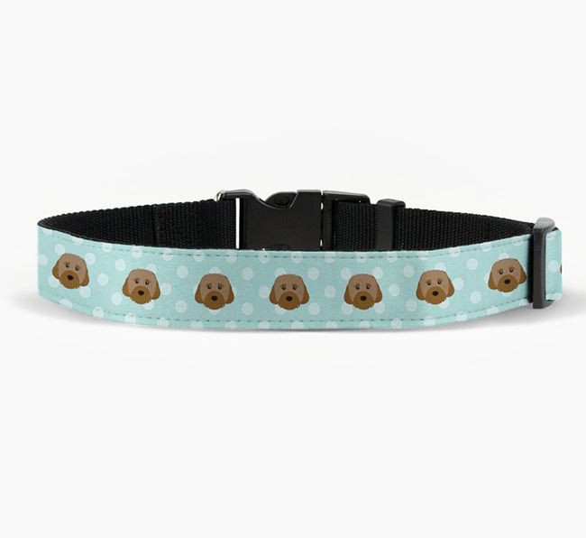 Fabric Collar with Spots and Cavachon Icon