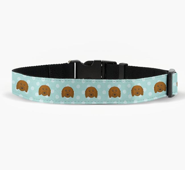 Fabric Collar with Spots and Cavapoo Icon