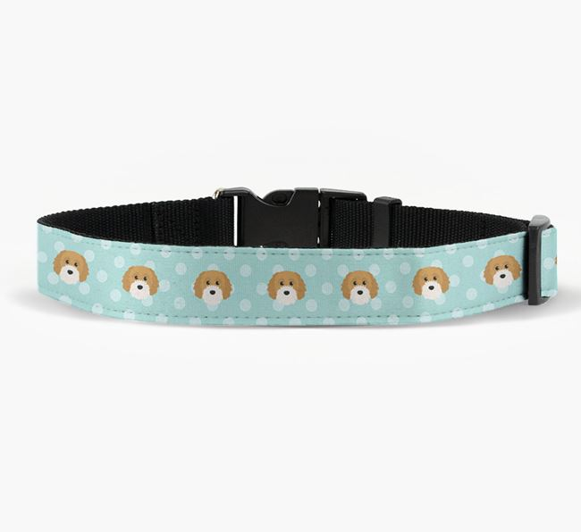 Fabric Collar with Spots and Cavapoochon Icon