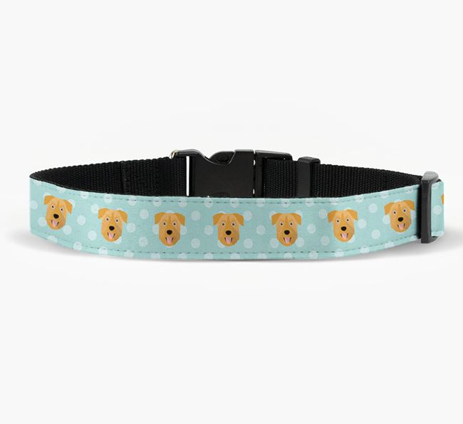 Fabric Collar with Spots and Chinook Icon