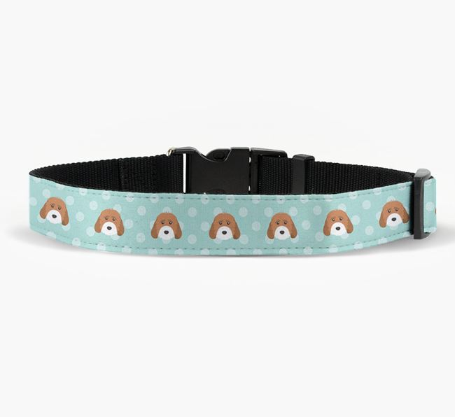Fabric Collar with Spots and Cockapoo Icon