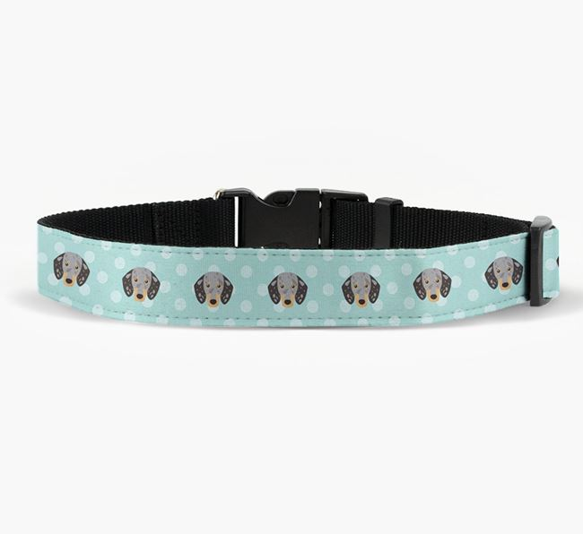 Fabric Collar with Spots and Dachshund Icon