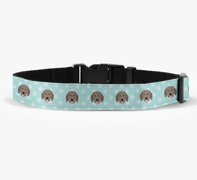 Fabric Collar with Spots and Flat-Coated Retriever Icon