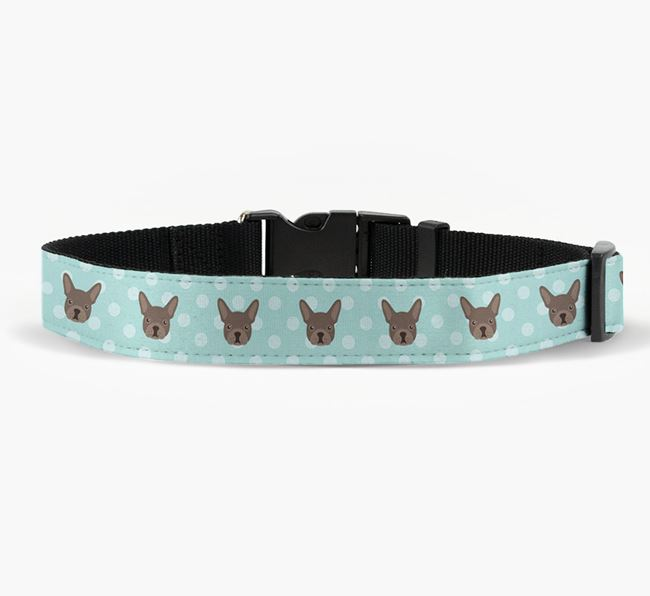 Fabric Collar with Spots and French Bulldog Icon
