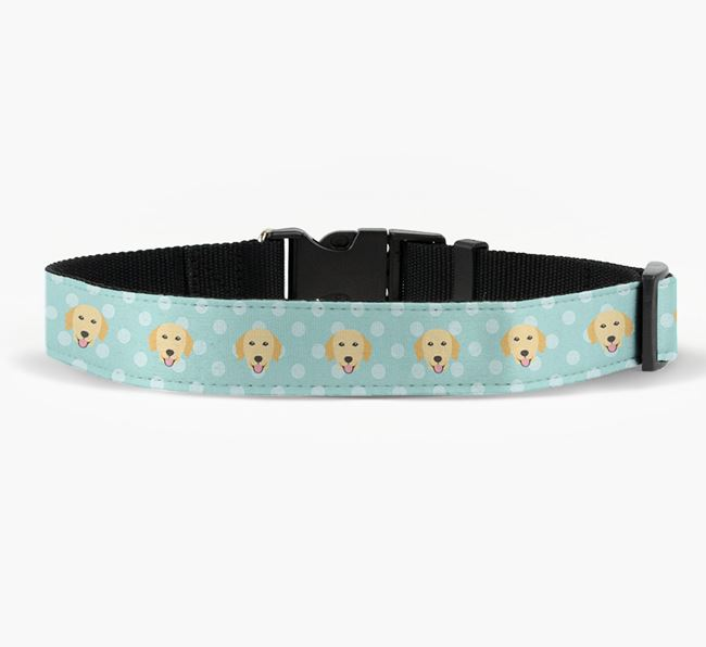 Fabric Collar with Spots and Golden Retriever Icon