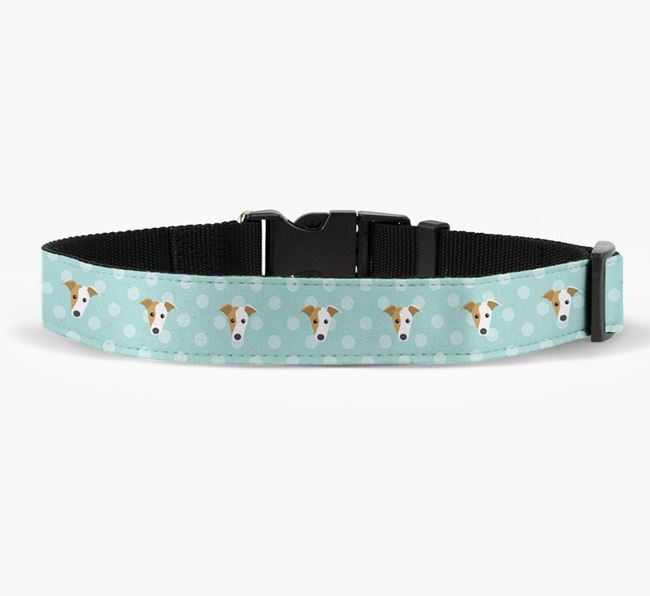 Fabric Collar with Spots and Greyhound Icon