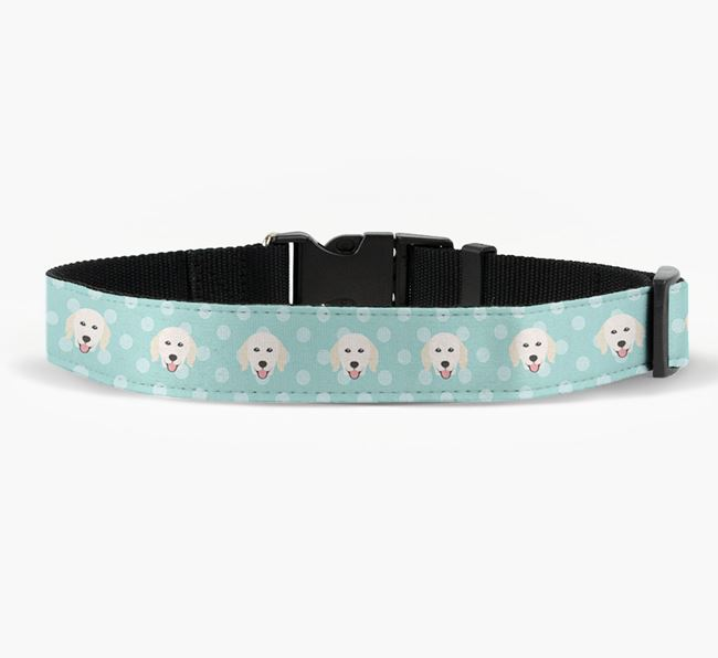 Fabric Collar with Spots and Hungarian Kuvasz Icon