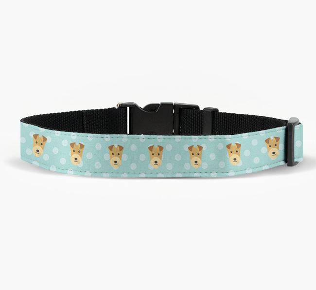 Fabric Collar with Spots and Lakeland Terrier Icon