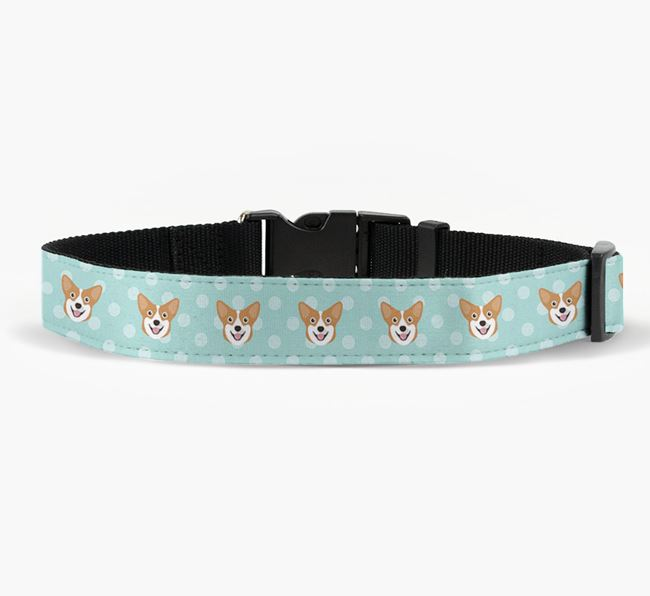 Fabric Collar with Spots and Pembroke Welsh Corgi Icon