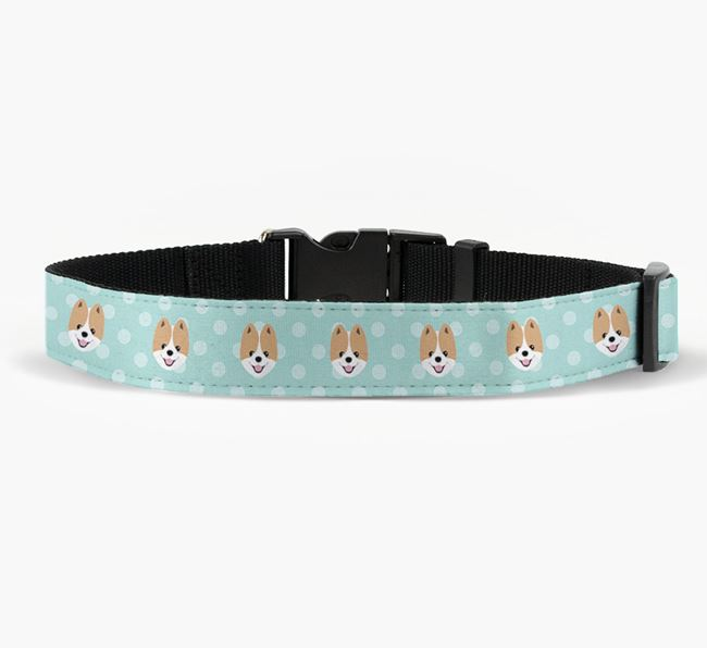 Fabric Collar with Spots and Pomeranian Icon