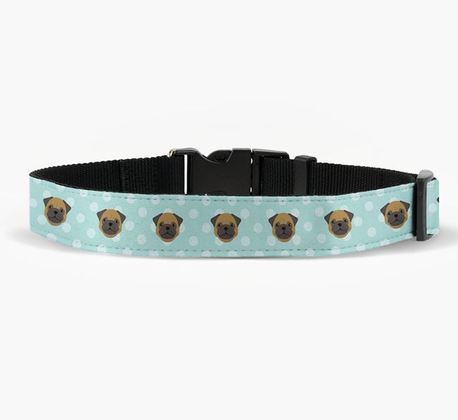 Fabric Collar with Spots and Pug Icon