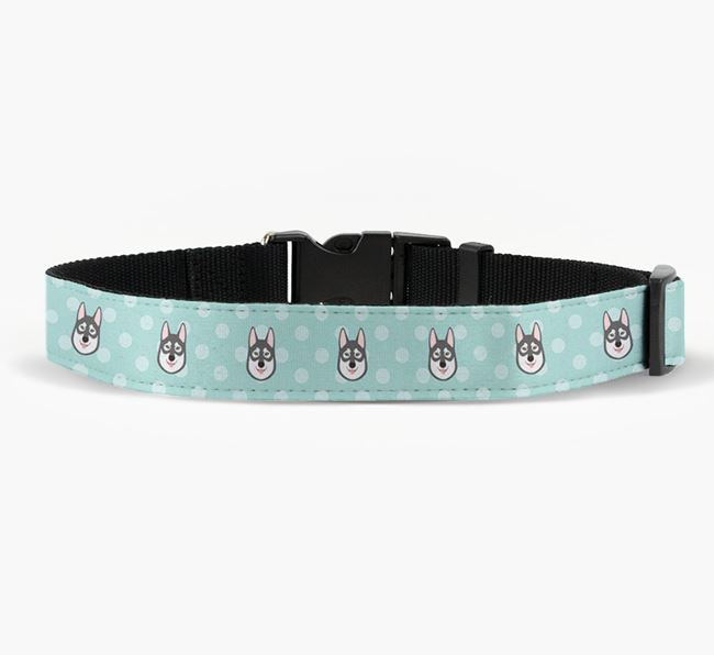 Fabric Collar with Spots and Tamaskan Icon