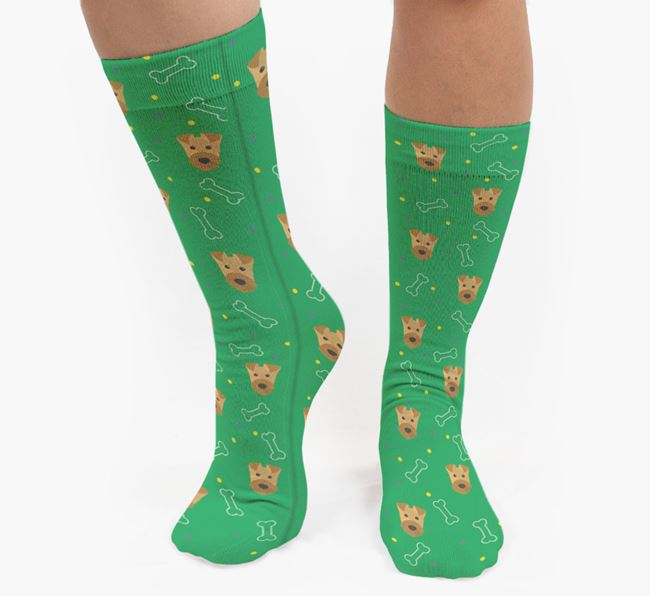 Bone Patterned Socks with Airedale Terrier Icon