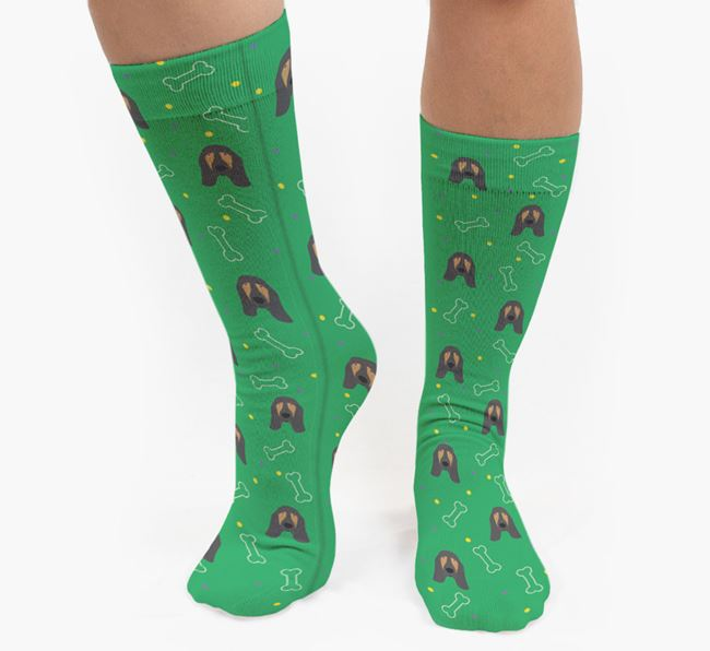 Bone Patterned Socks with Bloodhound Icon