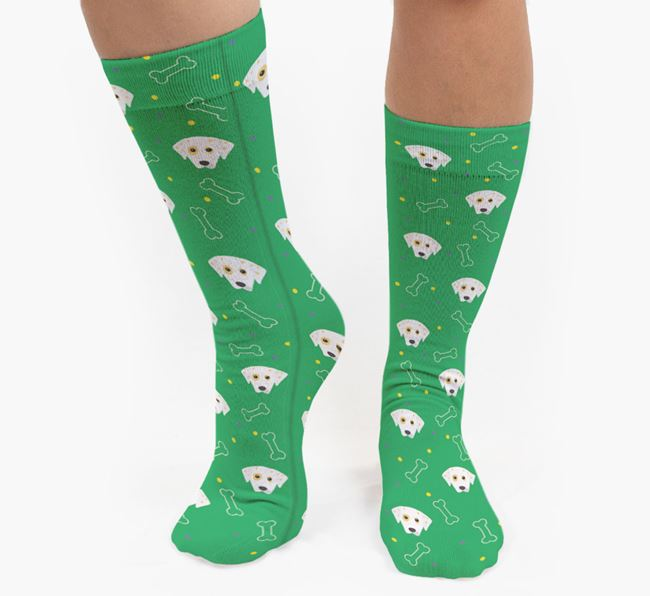 Bone Patterned Socks with Dalmatian Icon