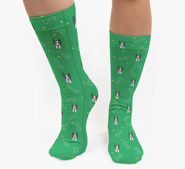 Bone Patterned Socks with Great Dane Icon