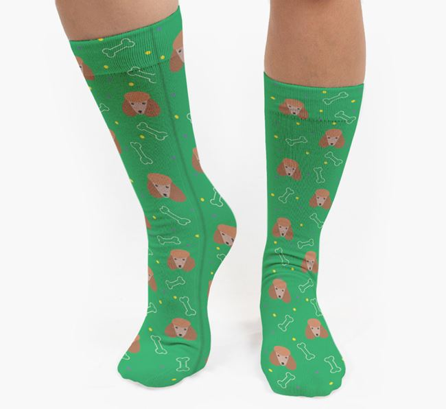 Bone Patterned Socks with Poodle Icon