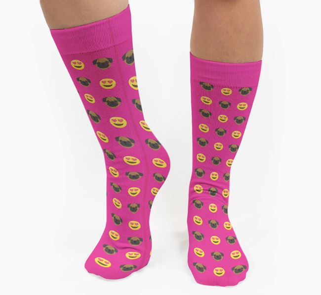 'Heart Eyes' Pattern Socks with Pug Icon