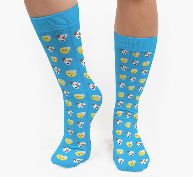 'Tired' Pattern Socks with Dog Icon