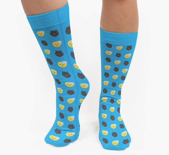 'Tired' Pattern Socks with Pomeranian Icon