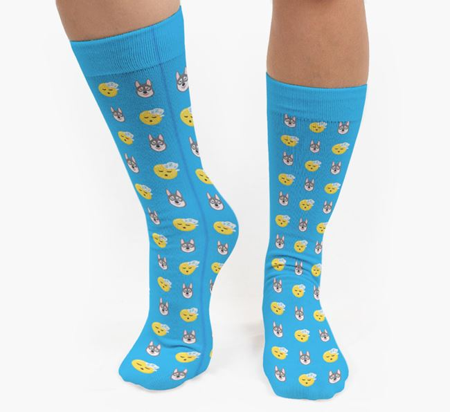 'Tired' Pattern Socks with Tamaskan Icon