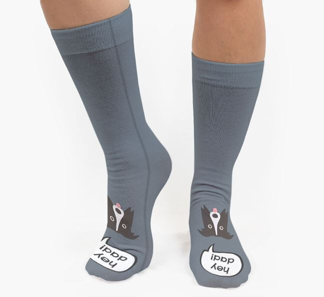 'Hey Dad!' Socks with Border Collie Icon