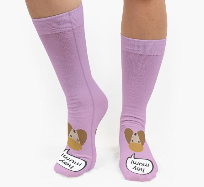 'Hey Mum!' Socks with Poodle Icon