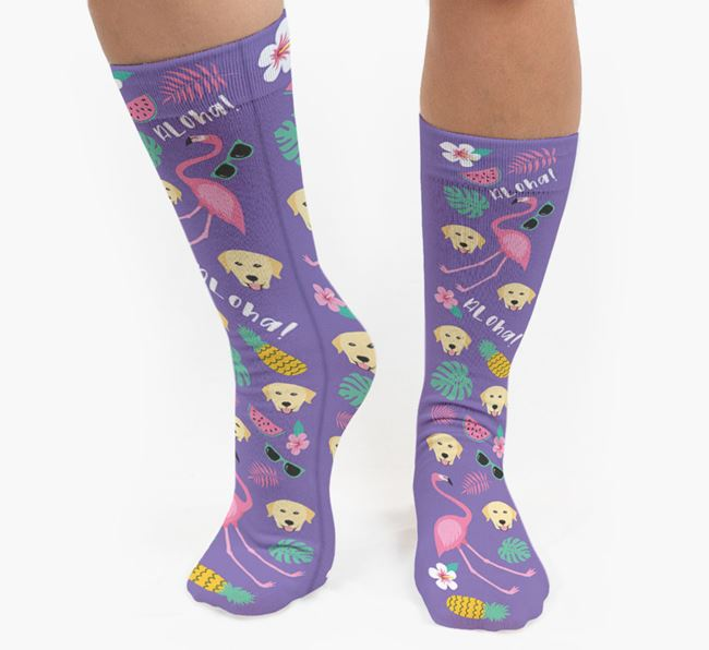 Flamingo Socks with Dog Icon