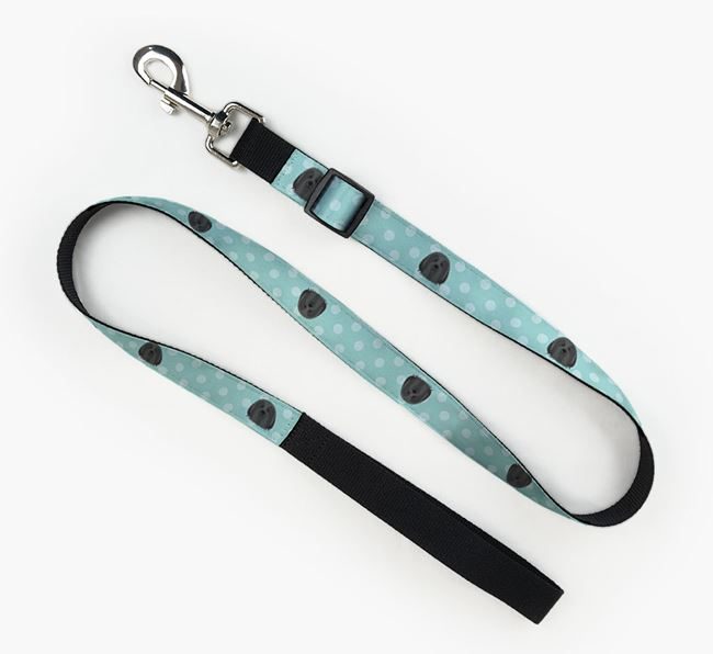 Fabric Lead with Spots and Bearded Collie Icon