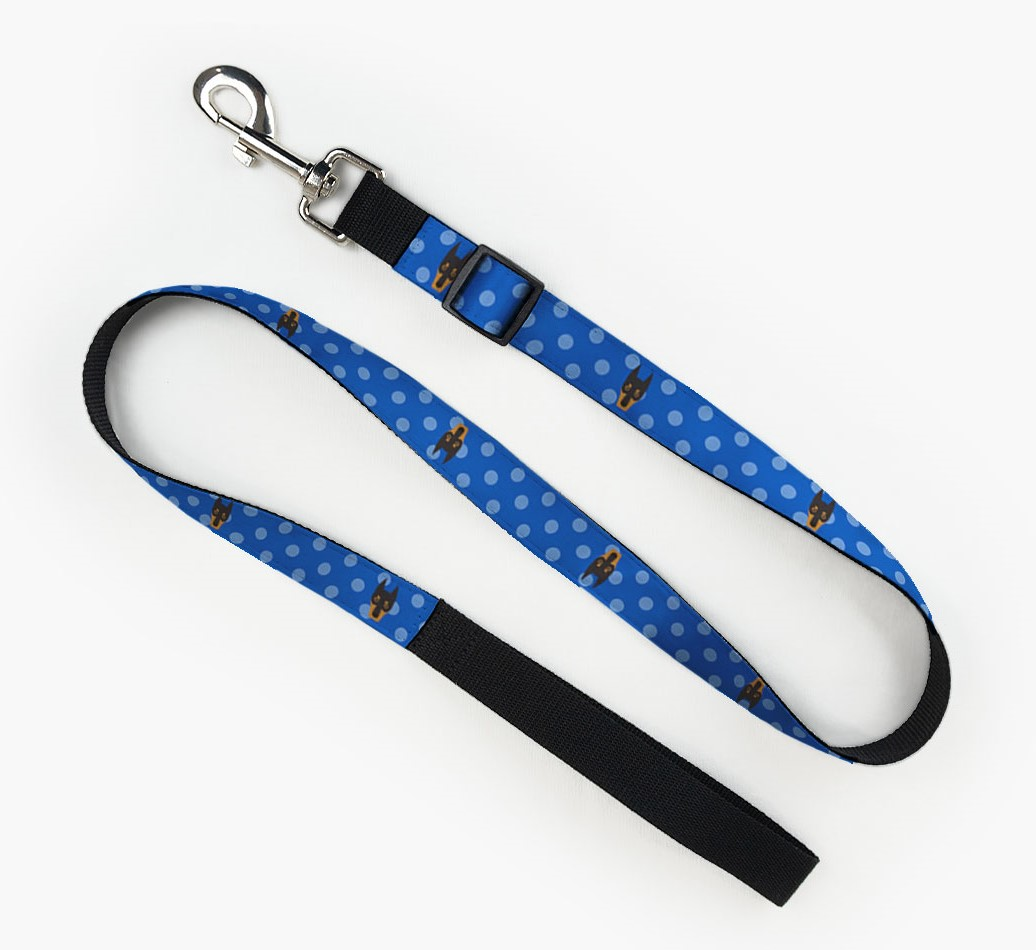Fabric Lead with Spots and Dobermann Icon front view