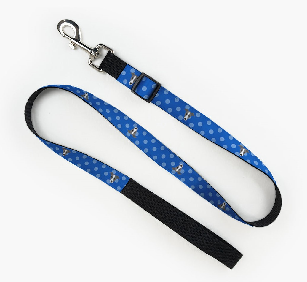 Fabric Lead with Spots and Greyhound Icon front view