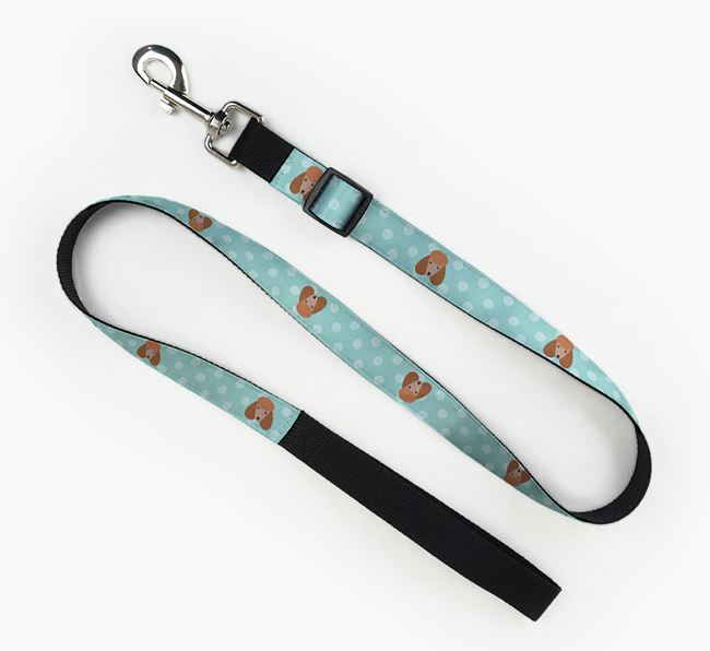 Fabric Lead with Spots and Poodle Icon