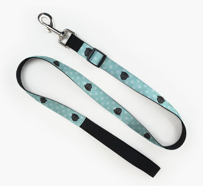 Fabric Lead with Spots and Pug Icon