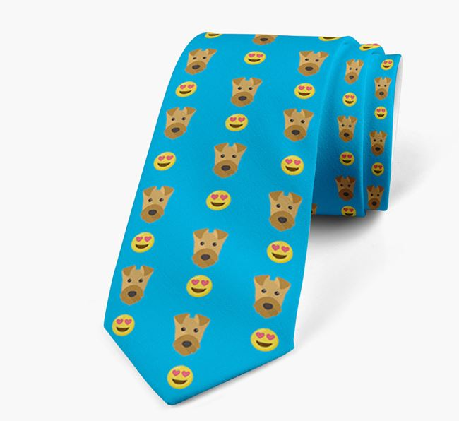 Neck Tie with Heart Eye Emoji and Airedale Terrier Icon pattern