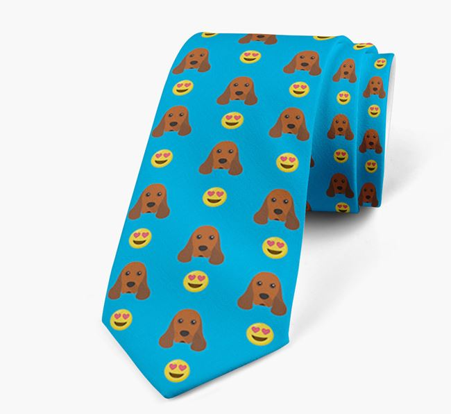 Neck Tie with Heart Eye Emoji and American Cocker Spaniel Icon pattern