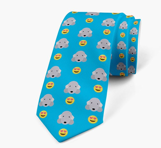 Neck Tie with Heart Eye Emoji and Bedlington Terrier Icon pattern